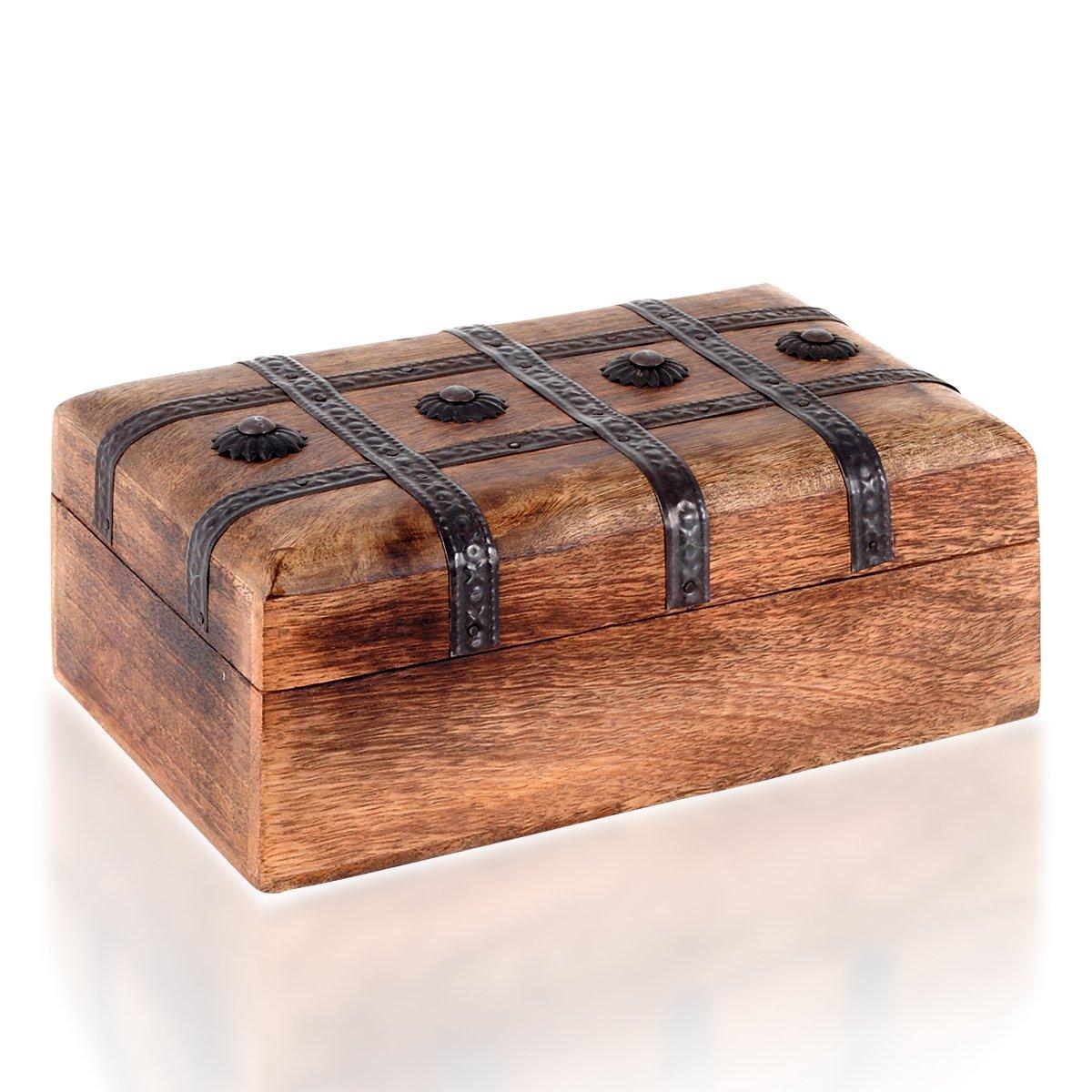 Brynnberg Scrigno del tesoro con lucchetto vintage Bauletto stile antico per accessori gioielli oggetti di valore, Cassaforte in legno, Idea regalo decorativa 31x18x18cm