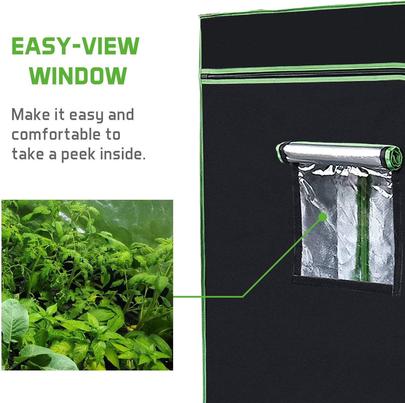 VIVOSUN 120 x120 x80 Mylar Hydroponic Grow Tent with Observation Window and Floor Tray for Indoor Plant Growing 10 x10