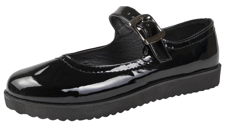 0d65a46e12b7 LD Outlet Lora Dora Womens Girls Black School Shoes Chunky Work Brogues:  Amazon.co.uk: Shoes & Bags
