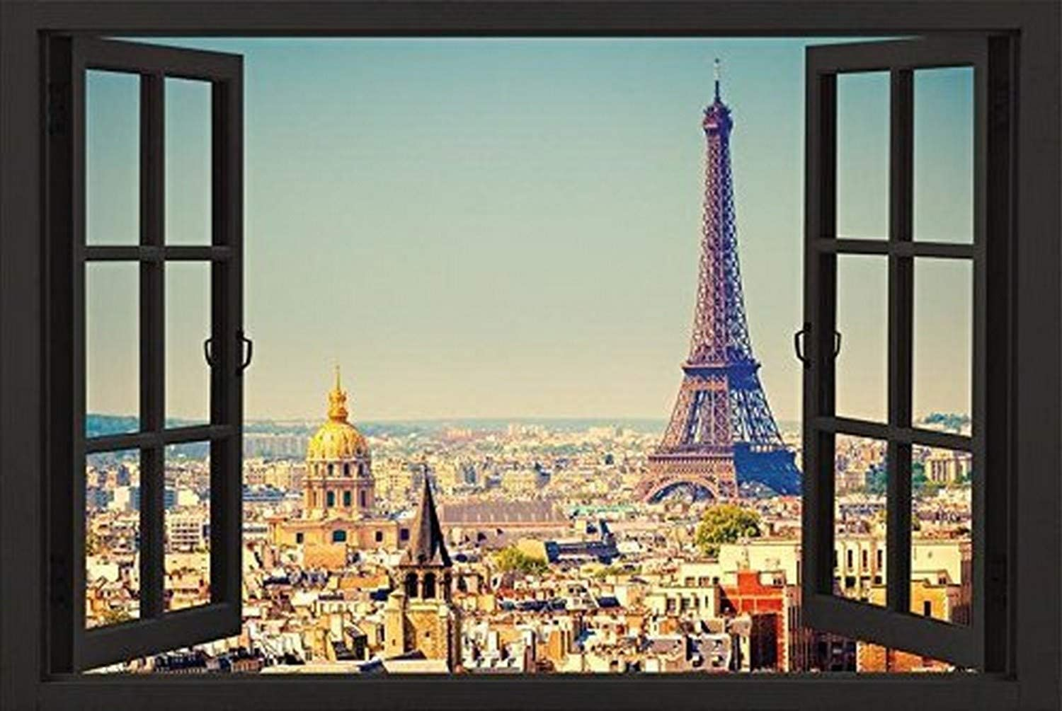 Buyartforless Paris Open Window Skyline 36x24 Eiffel Tower Art Print Poster