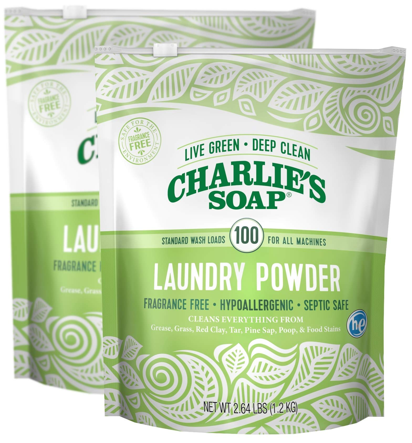 Charlie's Soap - Fragrance Free Laundry Powder - 100 Loads (Two 100-load Bags, 200 Total Loads)