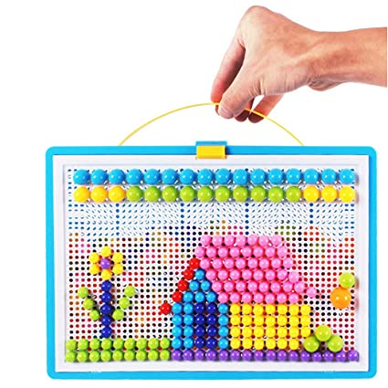 Fansport Mushroom Nail 296 Pcs Pegboard Mushroom Nail Jigsaw Puzzle Educational Toy