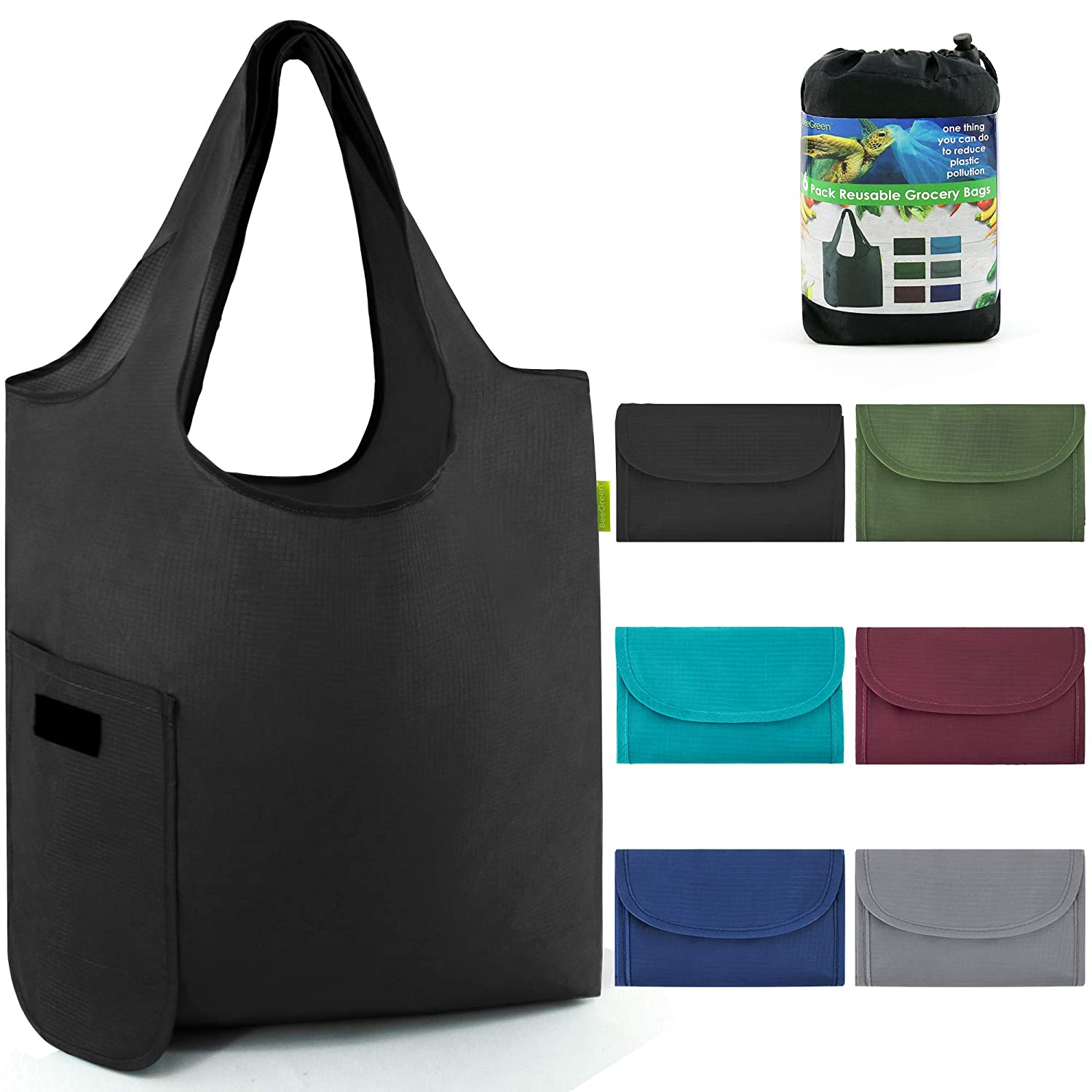 Reusable-Grocery-Shopping-Bags-Foldable With Magic Tape 6 Pack Large 50LBS Easy Fold Reusable Groceries Tote Bags Ripstop Fabric Washable Durable Lightweight Black Grey Navy Teal Moss Maroon