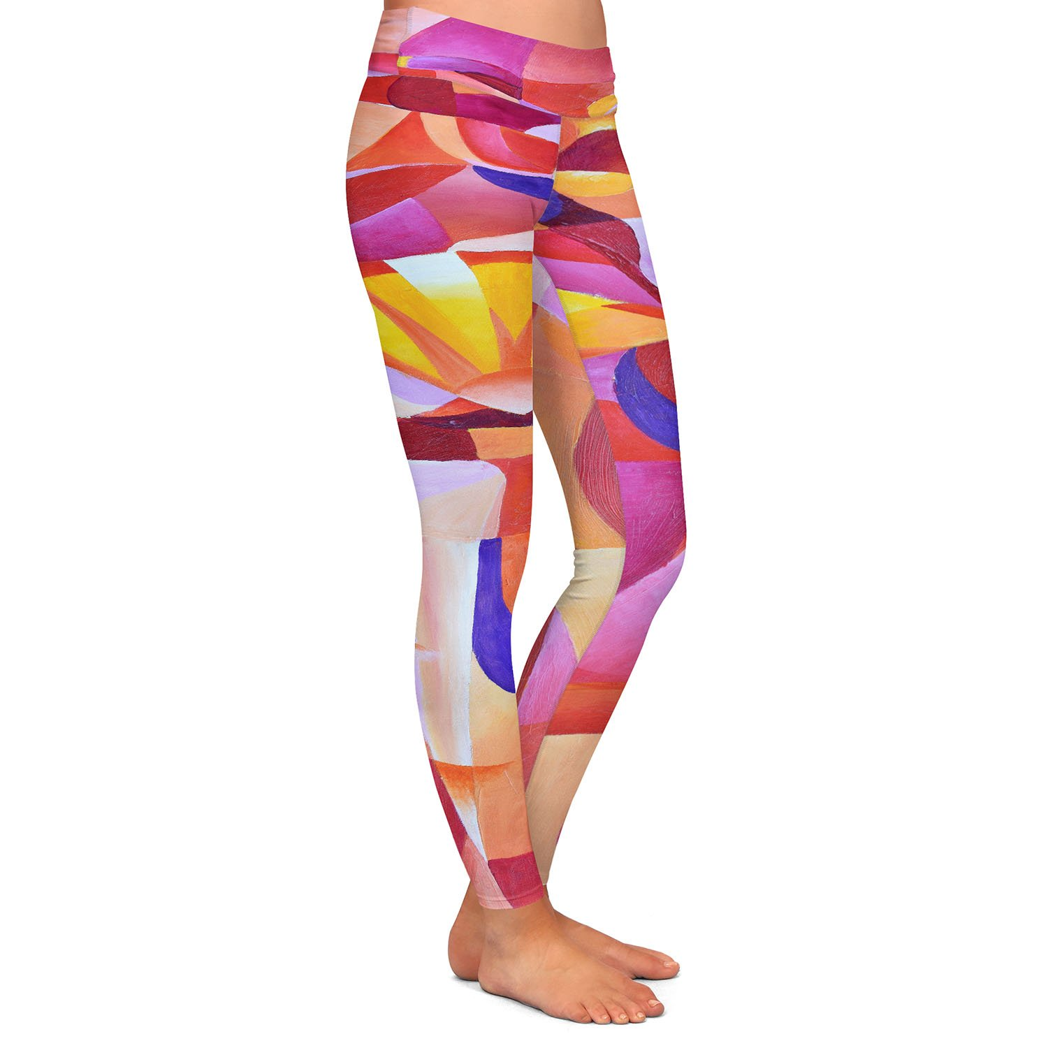Athletic Yoga Leggings from DiaNoche Designs by Gerry Segismundo Dancer with Fan Cubism 2