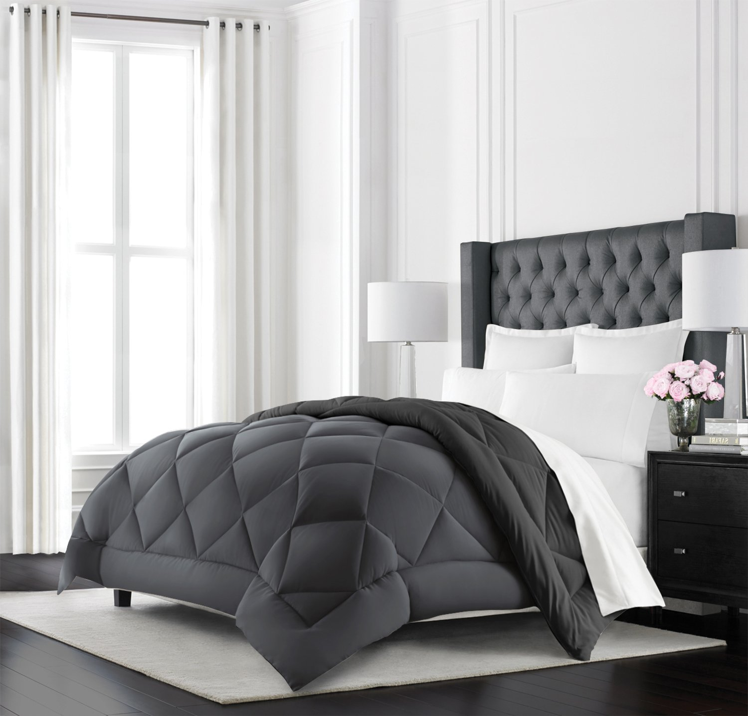 Beckham Hotel Collection Goose Down Alternative Reversible Comforter - All Season - Premium Quality Luxury Hypoallergenic Comforter - Full/Queen - Grey/Black