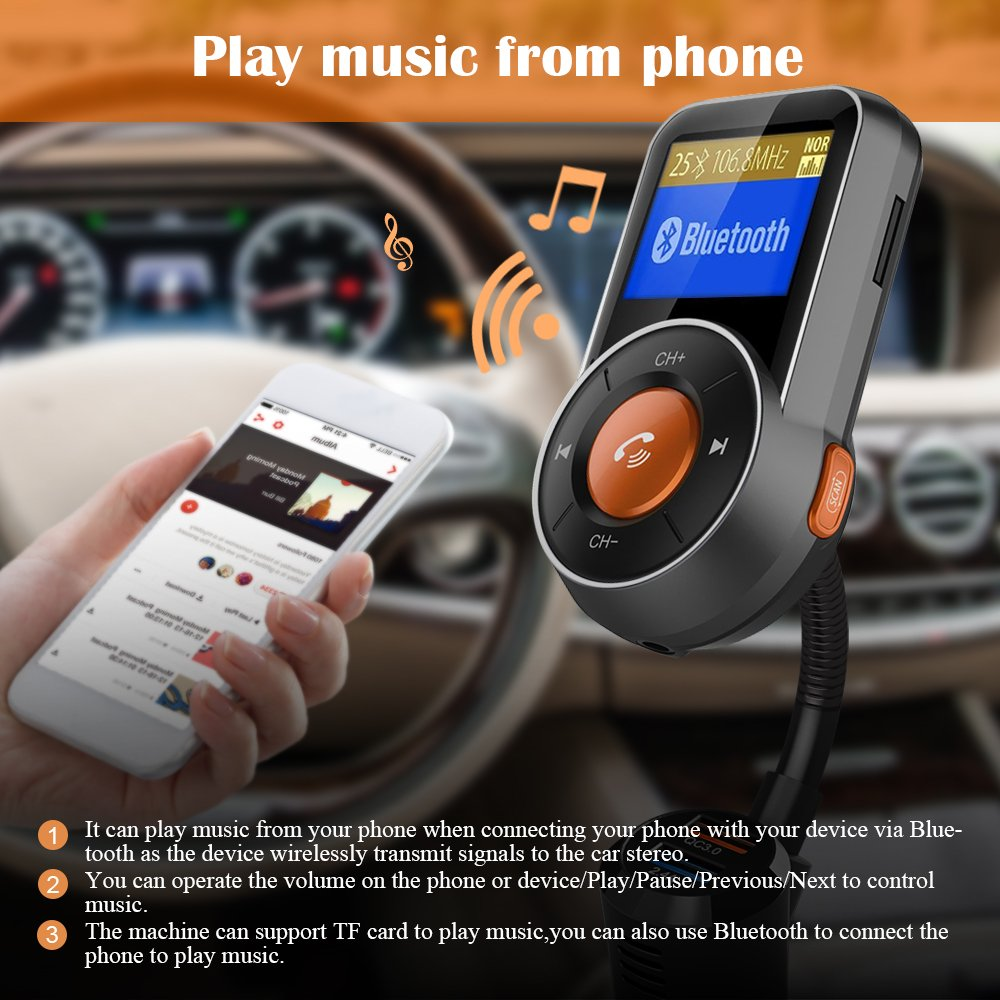 Bluetooth FM Transmitter, FKANT Auto-Scan Bluetooth 4.2 Wireless Radio Audio Adapter Receiver Car Kit MP3 Player, Hands-free, QC3.0/2.4A Dual USB Ports, AUX Input/Output,1.44'' Display, TF Card by FKANT (Image #4)