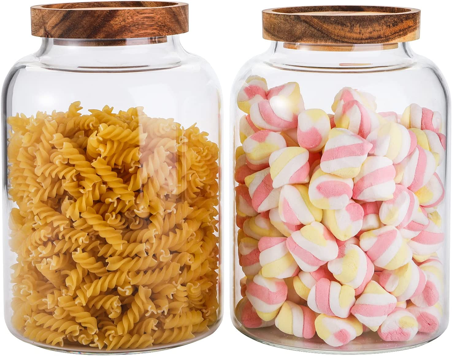 Bekith 2 Pack Large Glass Food Storage Container with Airtight Wooden Lid, 66 FL OZ(1950ml) Glass Food Canister for Kitchen and Pantry Organization, Cereal Dispenser Jars for Spaghetti Pasta, Tea, Coffee