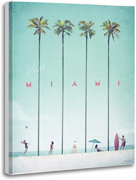 Amazon Com Torass Canvas Wall Art Print Beach Miami Vintage Travel People United States Palm Artwork For Home Decor 12 X 16 Posters Prints