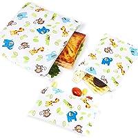 PHOGARY 3 piezas, Porta bocadillos reutilizable, bolsa merienda, funda bocadillo, Sin BPA (animales del bosque)
