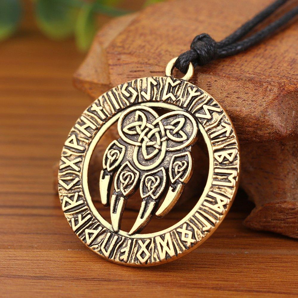 Colgante de Amuleto con dise/ño de Huella de Oso Skyrim Viking
