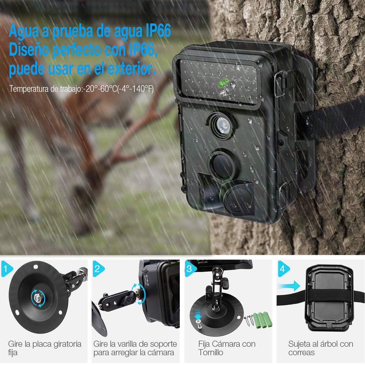 Powerextra Cámara de Caza Vigilancia 16MP Full HD 1080P Angular Amplio de 120° 42pcs IR Leds Visión Nocturna con hasta 20M Monitor LCD de 2.4\'\' Cámara de Vigilancia IP66 Resistente Intemperie