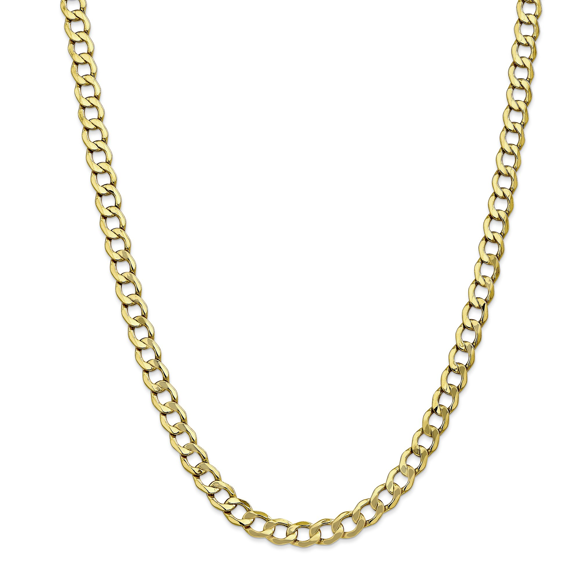 ICE CARATS 10k Yellow Gold 7mm Curb Cuban Link Chain Necklace 24 Inch Anchor Fine Jewelry Gift Set For Women Heart