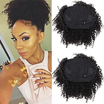 Amazon 8inch Human Hair Afro Puff Ponytail Extensions For Black