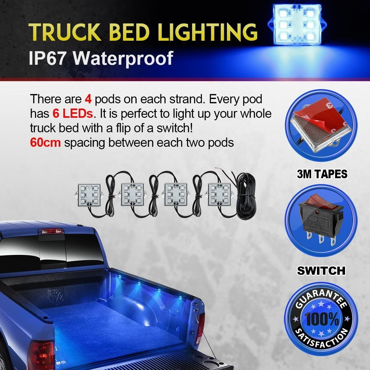 Partsam Truck Box Light 48-5050-SMD Blue LED Pickup Truck Bed Light Cargo Area Tail Light Fit All 12V Vehicles Replacement for GMC//Dodge Ram 1500 2500 3500