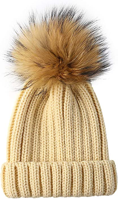 29755002395 RVROVIC Baby Winter Knitted Pom Faux Fur Ball Pom Pom Cap Toddler Kids  Beanie Hat (