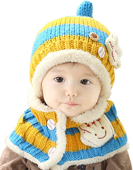 cefa45cc94b Baby Boys Girls Cute Baseball Scarf Hood Scarves Earflap Hat (Yellow Blue)