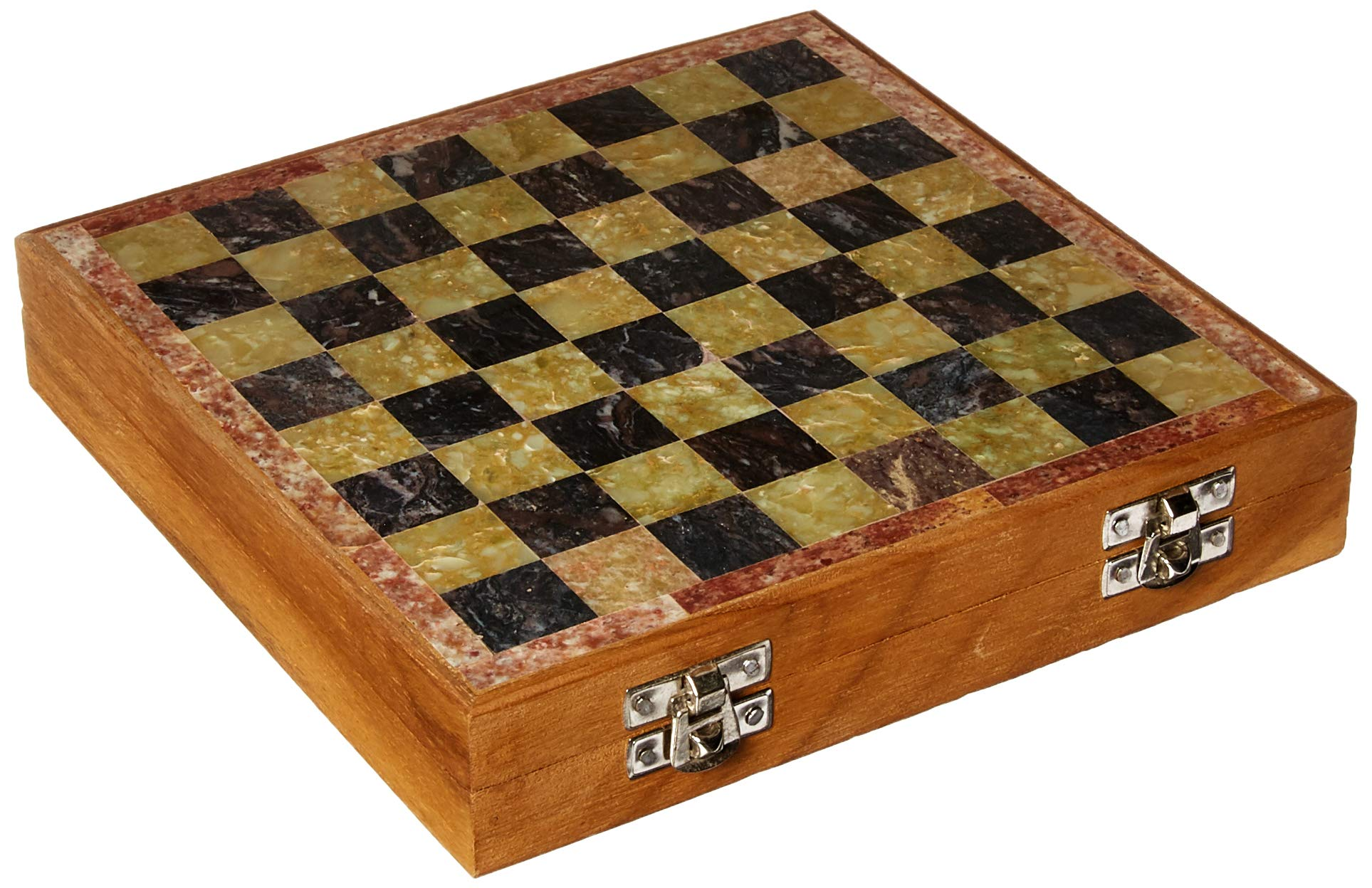 SouvNear 8x8 Inch Square Antique-Look Chess Board & Chessmen Set with Storage Box for Chessmen - Handmade Marble & Wood Chess Set - Travel Games from India