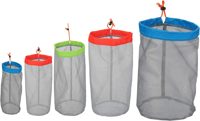 Alemon Small to XXLarge Ultralight Nylon Mesh Bags Sleeping Bag Ditty Sacks Drawstring Storage Bag for Travelling Hiking, Set of 5