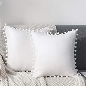 CAWANFLY Set of 2 Decorative Throw Pillow Covers with Cute Pom Pom, Square Soft Cushion Case Home Decor for Couch Sofa Bed 18x18Inch/45x45 cm (White)