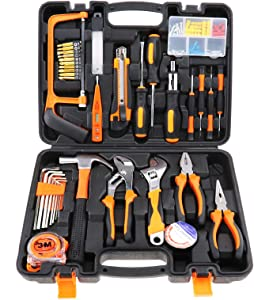 Creative-Idea 100pcs Household Repair Home Improvement DIY Tool Box Kit with Carry Case Home Set Daily Maintenance
