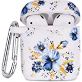 Airpod Case AIRSPO Airpods Case Cover for Apple AirPods 2&1 Cute Airpod Case for Girls Silicone Protective Skin Airpods Accessories with Keychain (Blue Flower 2 in 1)