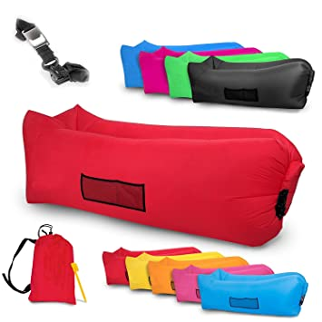 Tumbona Hinchable impermeable Airsofa Sofá inflable cama de aire para Playa Piscina Jardín aire libre parque camping Con piqueta de seguridad, ...