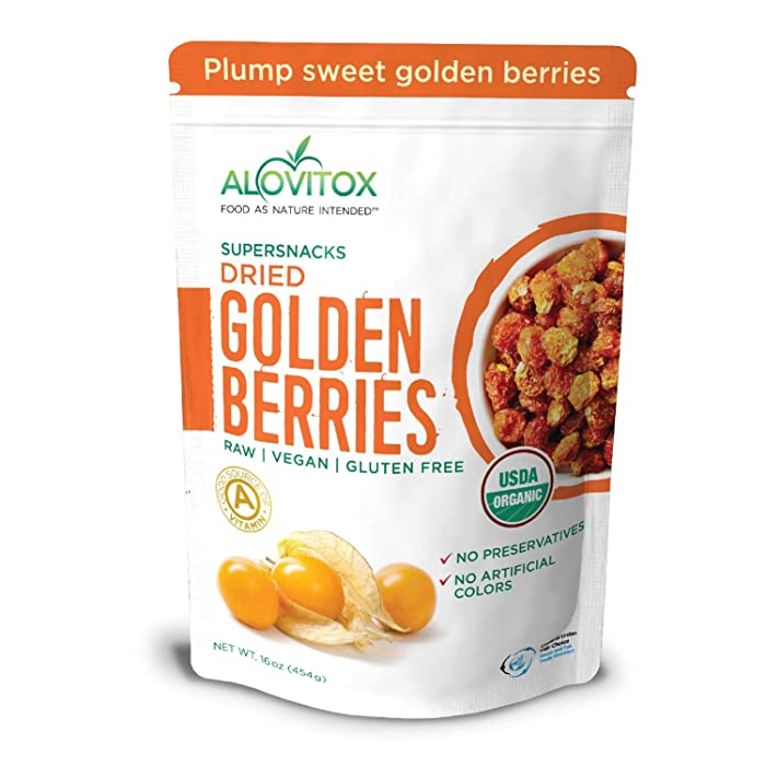 Organic Sun Dried Golden Berries 16 oz | Raw, Vegan, Gluten Free Super Snack High in Smart Protein, Dietary Fiber, Vitamin A & C | Incan Gooseberries for Eating, Trail Mix, Smoothies and Salads
