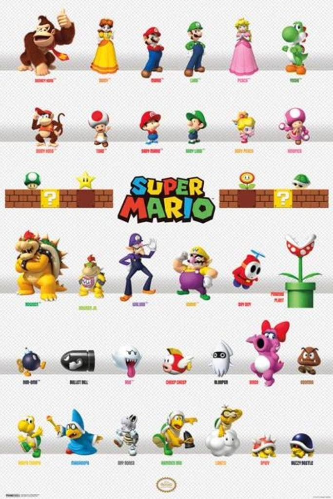 Amazon Com Nintendo Super Mario Characters Video Game Poster