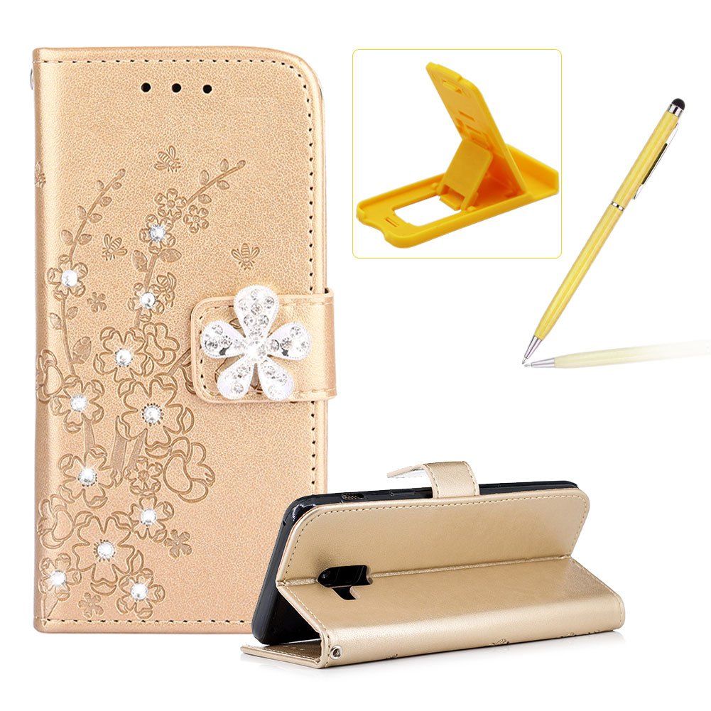 Diamond Leather Case for Samsung Galaxy A8 2018,Rose Gold Wallet Glitter Case for Samsung Galaxy A8 2018,Herzzer Stylish Pretty Peach Blossom Printed 3D Crystal Flower Magnetic PU Leather with Soft Silicone Inner Back Case