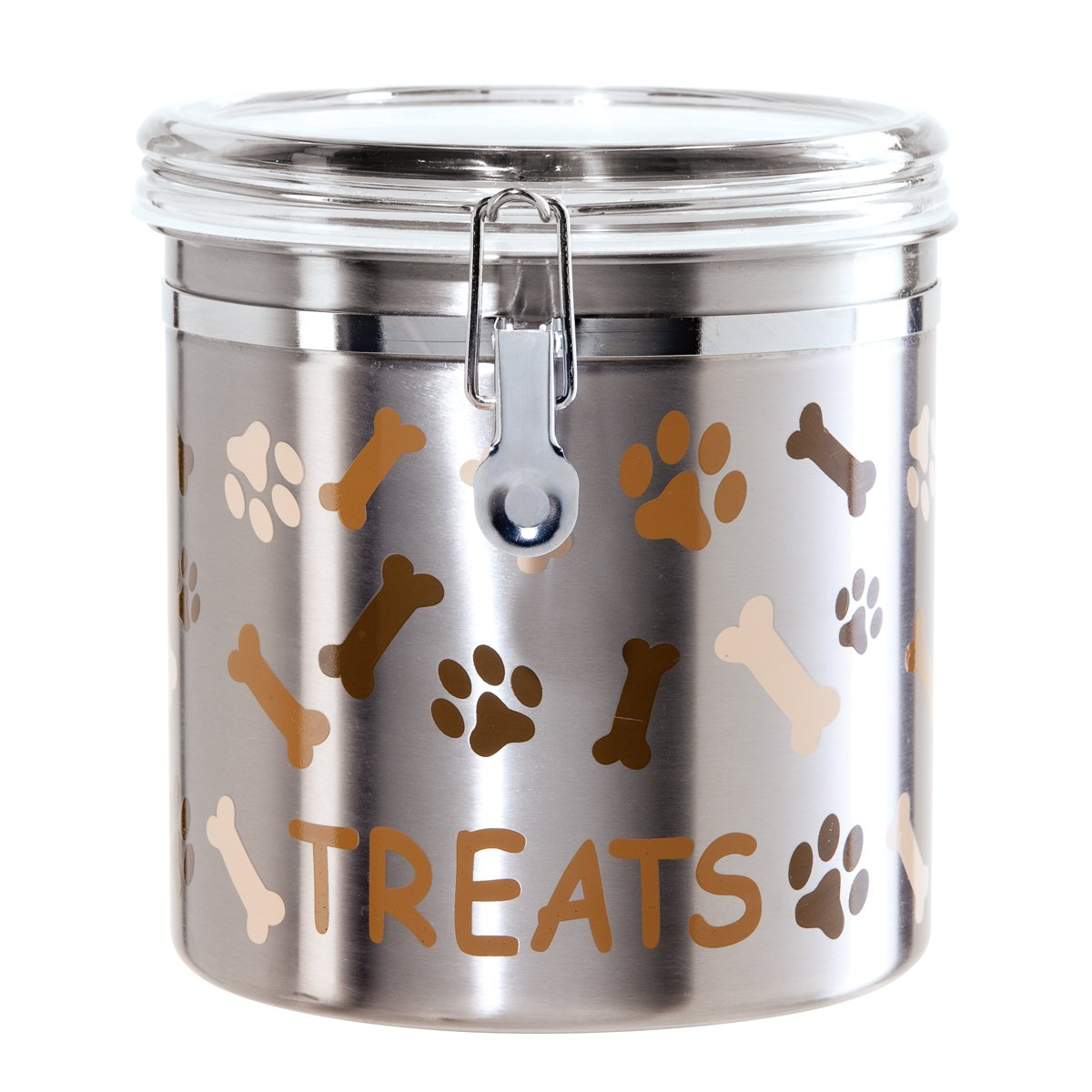 Oggi Airtight Stainless Steel 130-Ounce Pet Treat Canister with Treats, Paws and Bones Motif-Clear Acrylic Flip-Top Lid with Locking Clamp Closure by Oggi (Image #1)