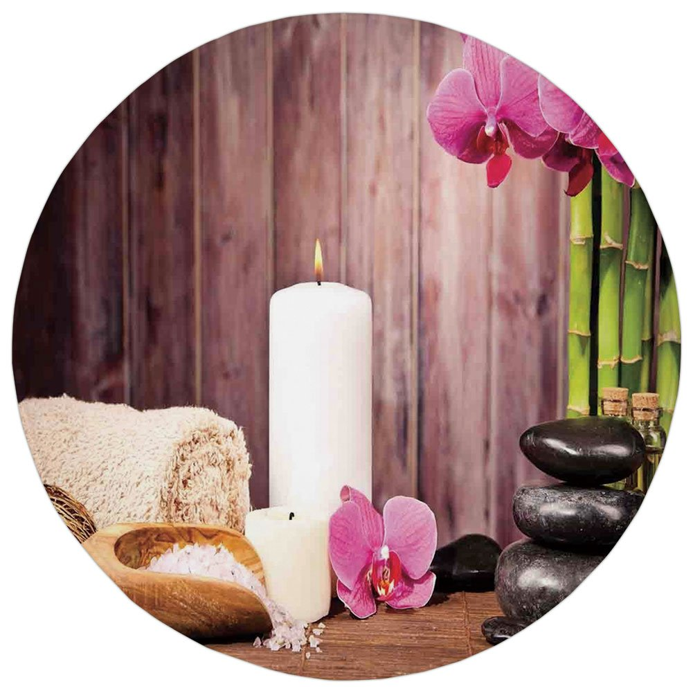 Round Rug Mat Carpet,Spa Decor,Spa Candlelight Plants Wooden Wall Sea Salt Treatment Freshness Relaxing,,Flannel Microfiber Non-slip Soft Absorbent,for Kitchen Floor Bathroom