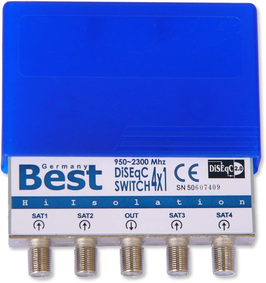 4x SkyRevolt DiSEqC switch 4//1 switch 1.0 2.0 HD listo con carcasa resistente a la intemperie Switch para hasta 4 LNB con conector 20x F