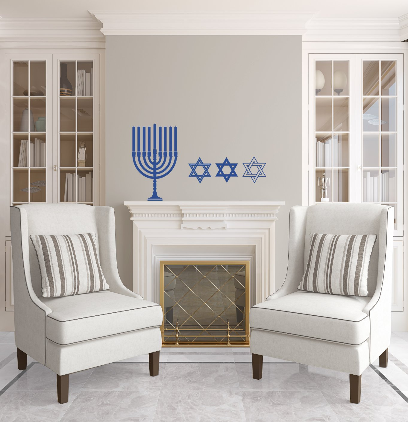 Menorah and Star of David Cluster - Azure Blue - Vinyl Wall Art Decal for Homes, Offices, Kids Rooms, Nurseries, Schools, High Schools, Colleges, Universities by Dana Decals (Image #2)