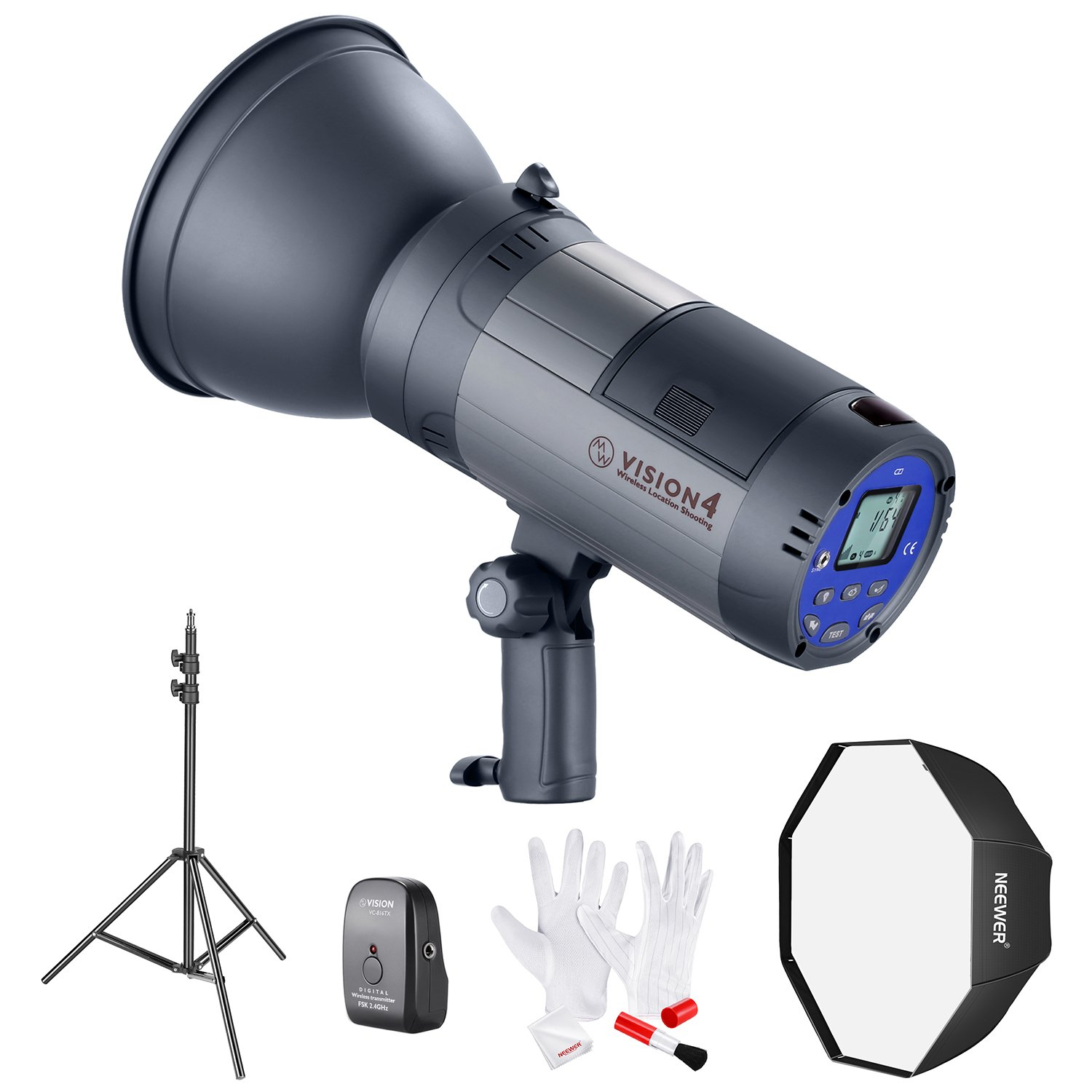 Neewer Vision 4 Powered Outdoor Studio Flash Strobe (700 Full Power flashes) with Softbox, Light Stand and Cleaning Kit for Video Location Photography by Neewer