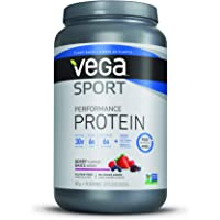 Vega Sport Protein Powder Berry (19 Servings, 1.77 lb) - Plant Based Vegan Protein Powder, BCAAs, Amino Acid, tart cherry, Non Dairy, Gluten Free, Non GMO