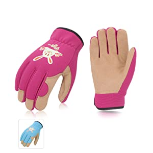 Vgo 2Pairs Age 3-4 Kids Gardening,Lawning,Working Gloves(Size XS,2Colors,KID-SL7362)
