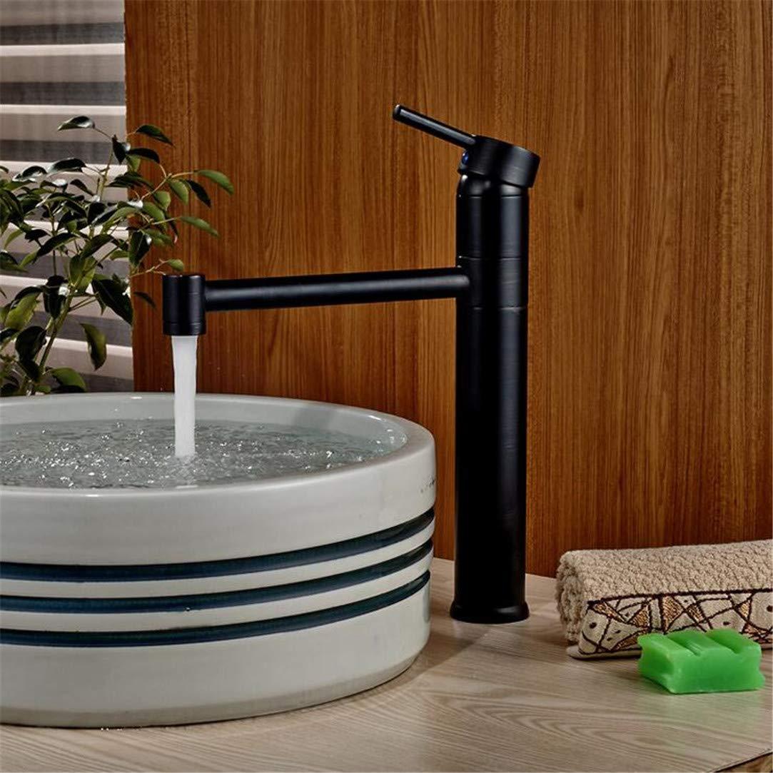 Faucet Washbasin Mixer Oil Rubbed Bronze Long Neck Bathroom Vanity Sink Faucet Deck Mount Basin Mixer Tap Single Handle One Hole