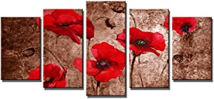 Wieco Art Red Poppies on Brown 5 Panels Modern Gallery Wrapped Floral Giclee Canvas Print Flowers Pictures to Photo Paintings on Canvas Wall Art Work Ready to Hang for Living Room Home Decor L