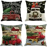 Bibite Set of 4 Merry Christmas Tree and Truck Cotton Linen Decorative Cushion Covers Square Throw Pillow Cases 18 x 18 (Red)