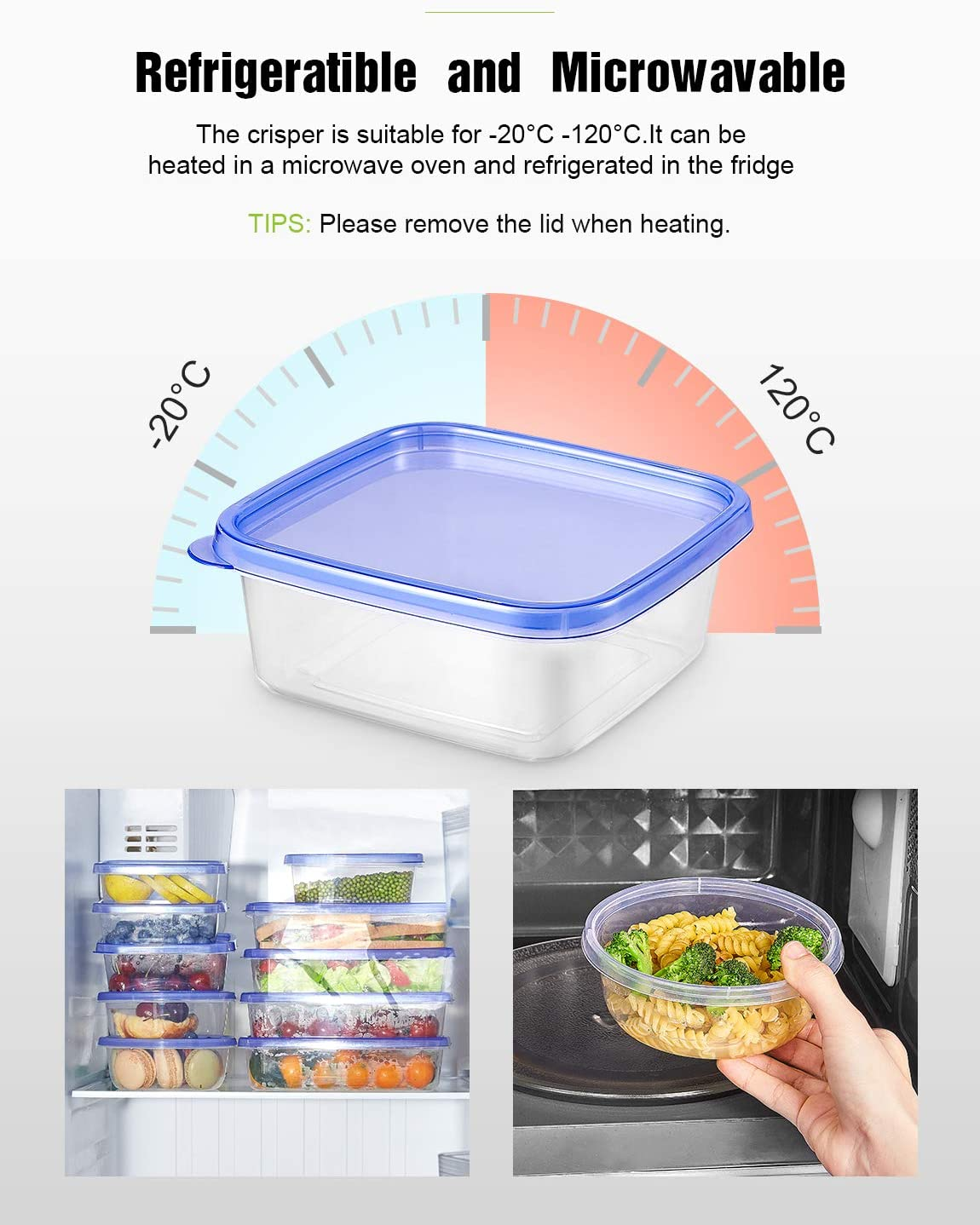 Tama/ño Diverso Conjunto Apilable de 20 Piezas Sin BPA Apta para Lavavajillas y Microondas Deik Tupperware Set de Recipientes para Alimentos con Tapa Certificado LFGB