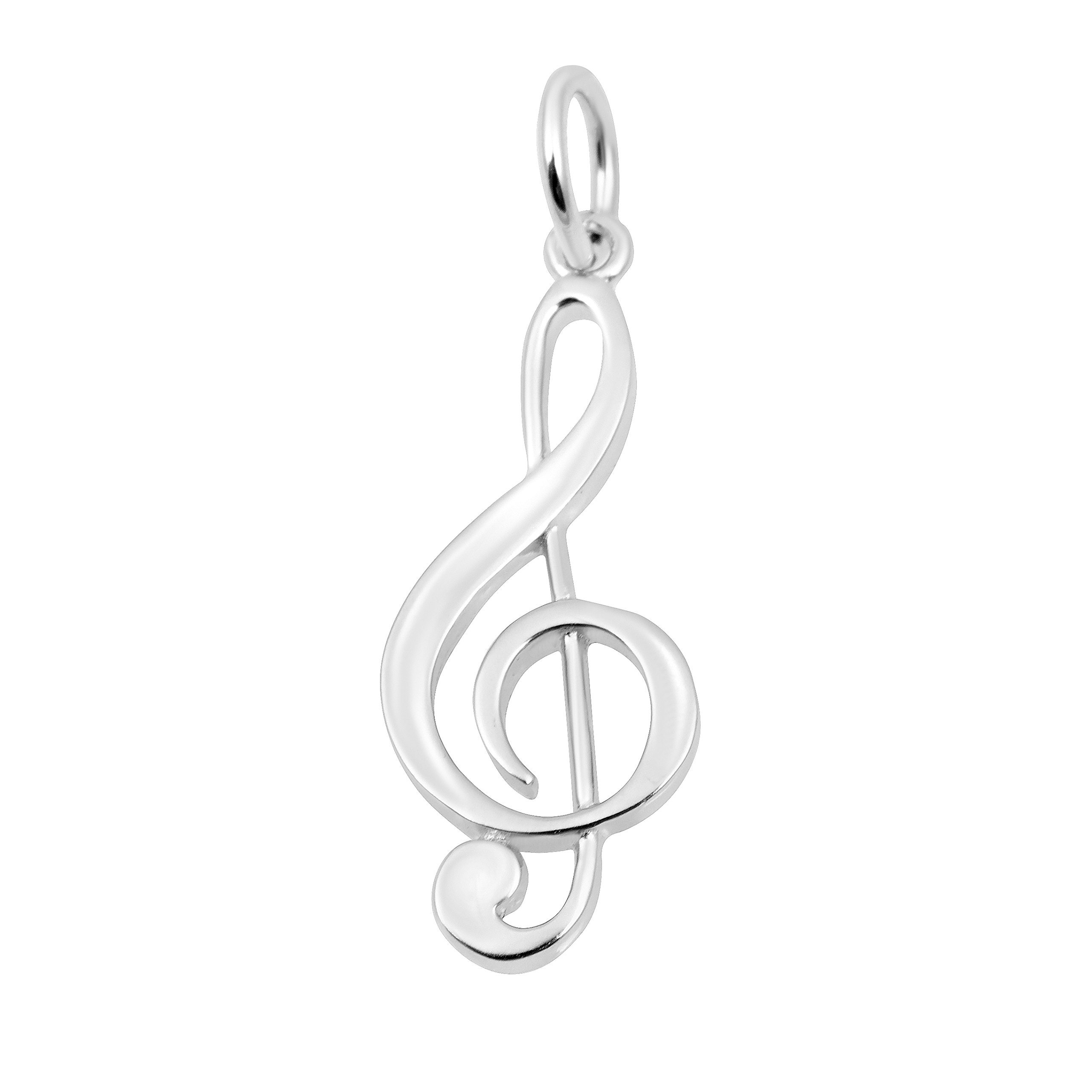 Silver on the Rocks Music Charm Jewelry, Sterling Silver Large C Clef for Necklace, Bracelet, Anklet