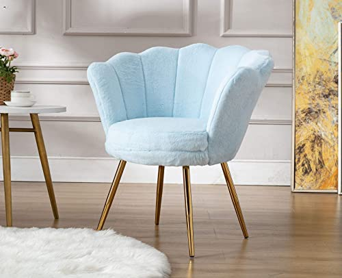 Guyou Comfy Faux Fur Accent Vanity Chair Armchair