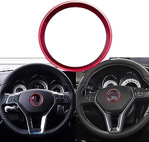 Xotic Tech Auto Interior Decor, Car 3D Steering Wheel Center Logo Trim Ring for Mercedes Benz B C GLK, Aluminum Alloy Red
