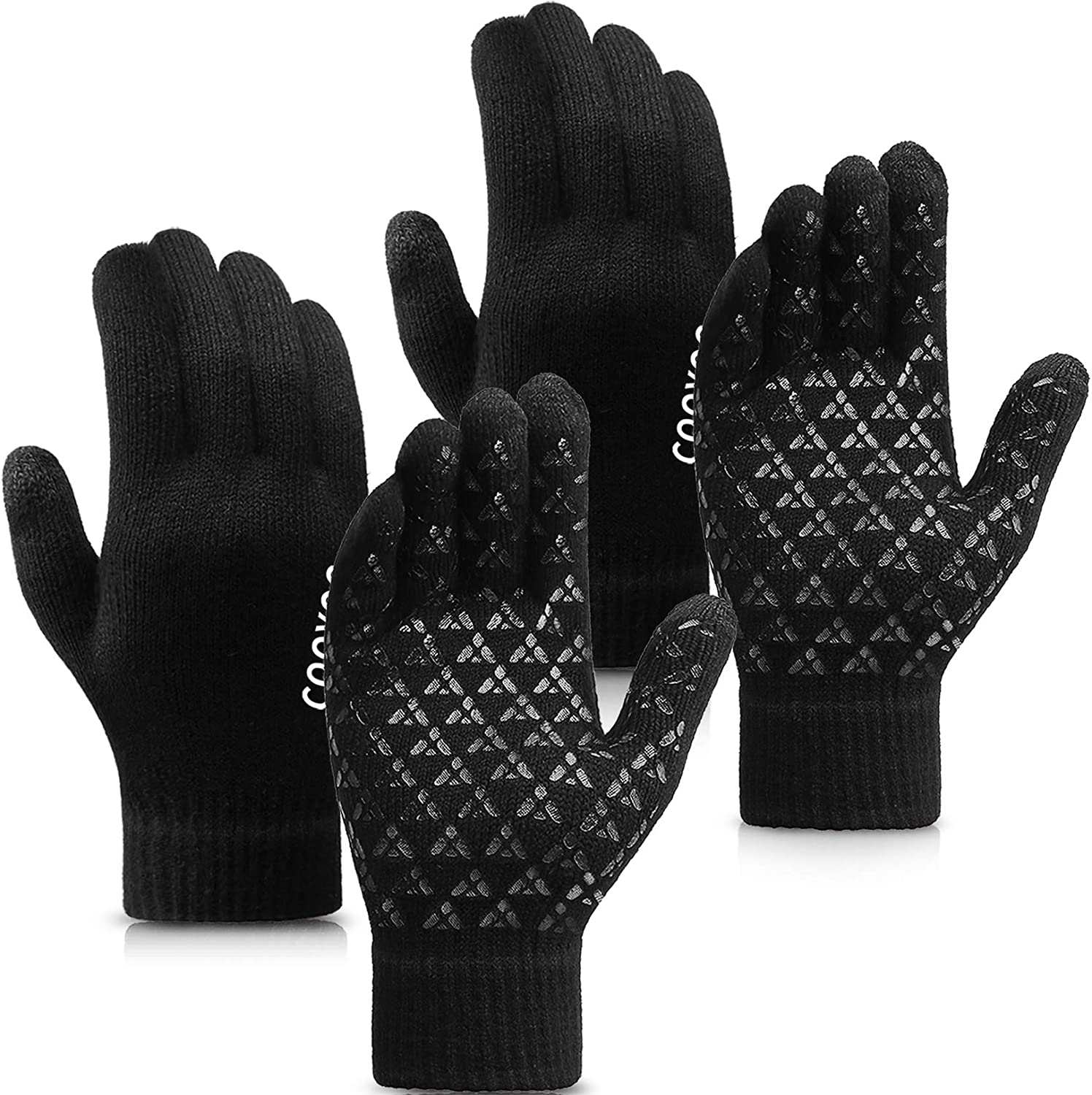 2 Pairs Winter Knit Gloves Touchscreen Thermal Running Texting for Men Women