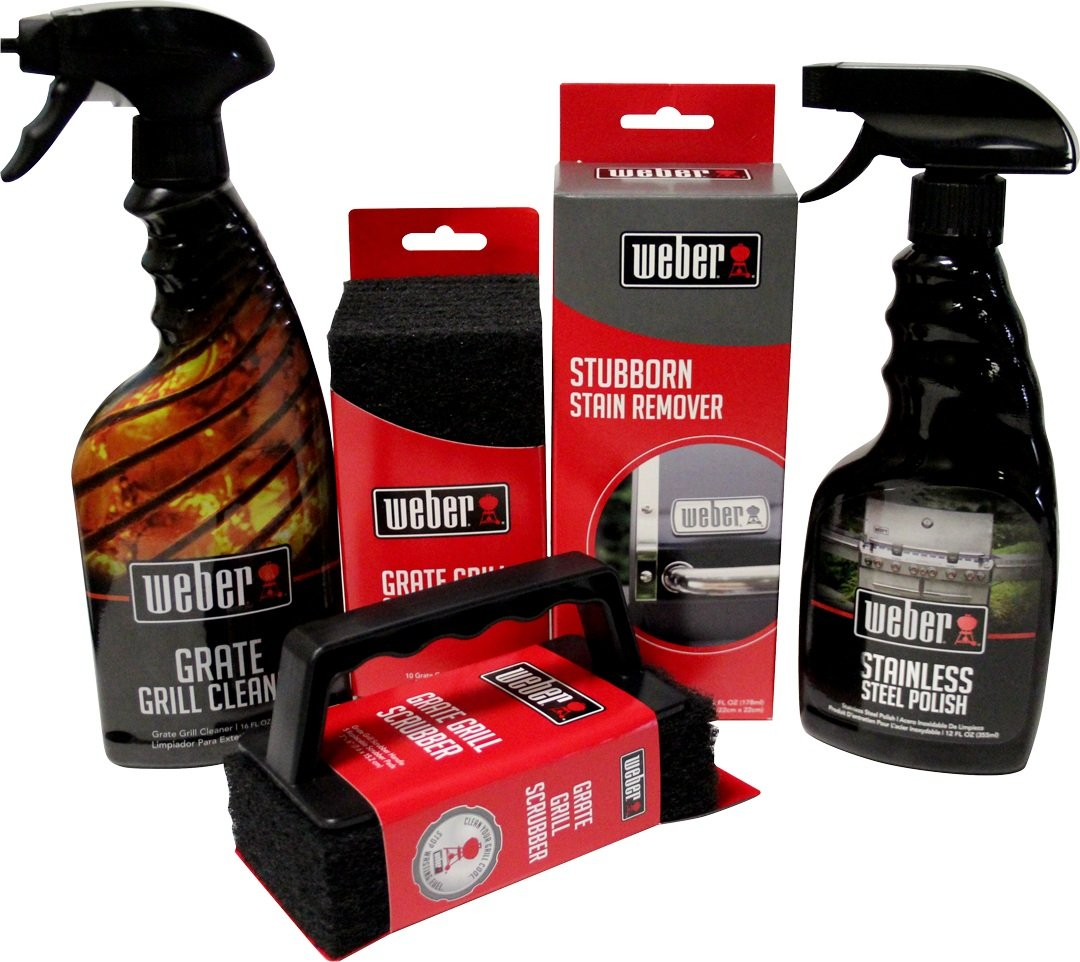 Weber Grill Cleaning Kit - Grill Spray Cleaner, Stainless Steel Polish, Grill Scraper, Stain Remover, and 10 Grill Scrubber Pads by Weber