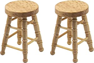 AUEAR, 2 Pack 1/12 Dollhouse Miniature High Stool Wooden Furniture Accessories 1:12 Scale Miniature Living Room