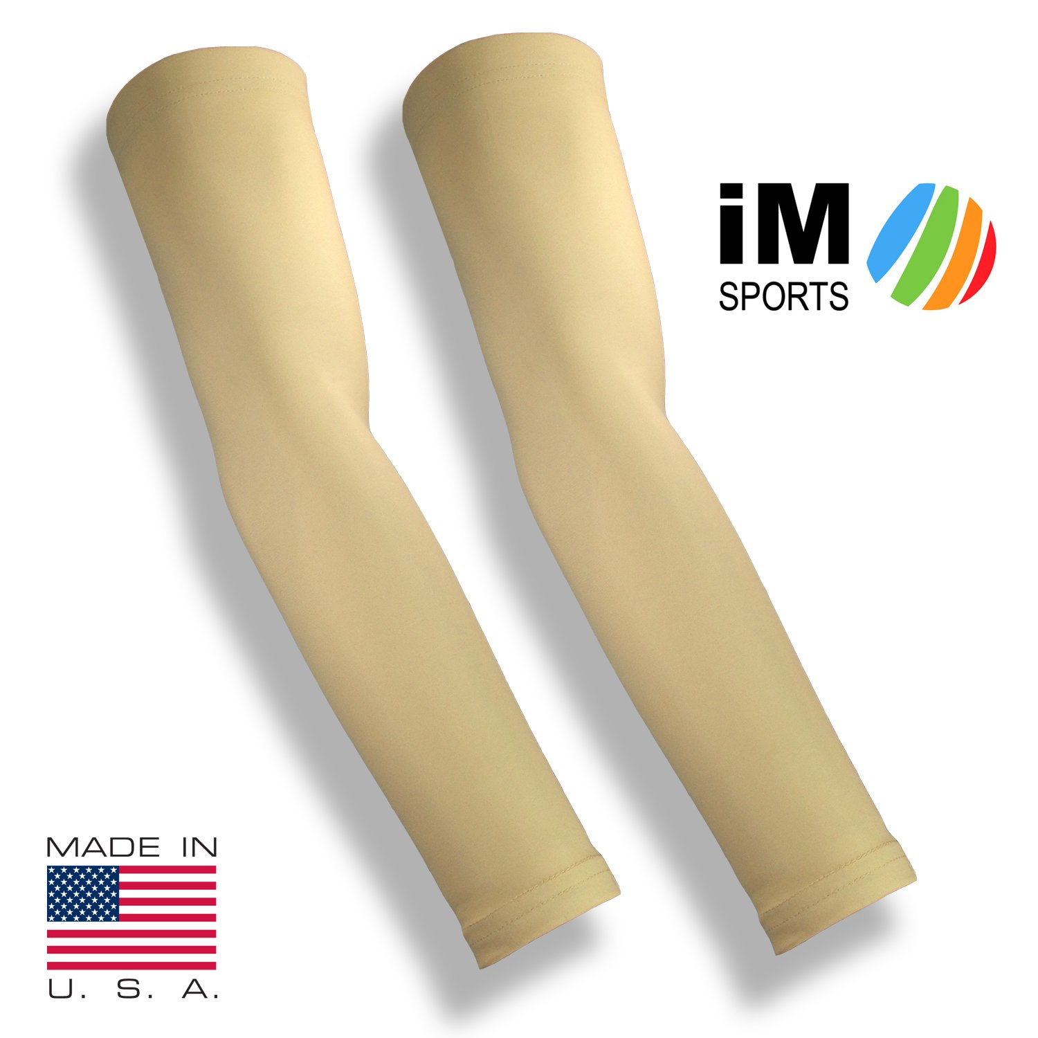 iM Sports SKINGUARDS Skin Protection Full Arm Sleeves + Protects Aging or Thin Skin + UV Protection - Unisex + Made in USA - Light - X-Large/XX-Large - Pair