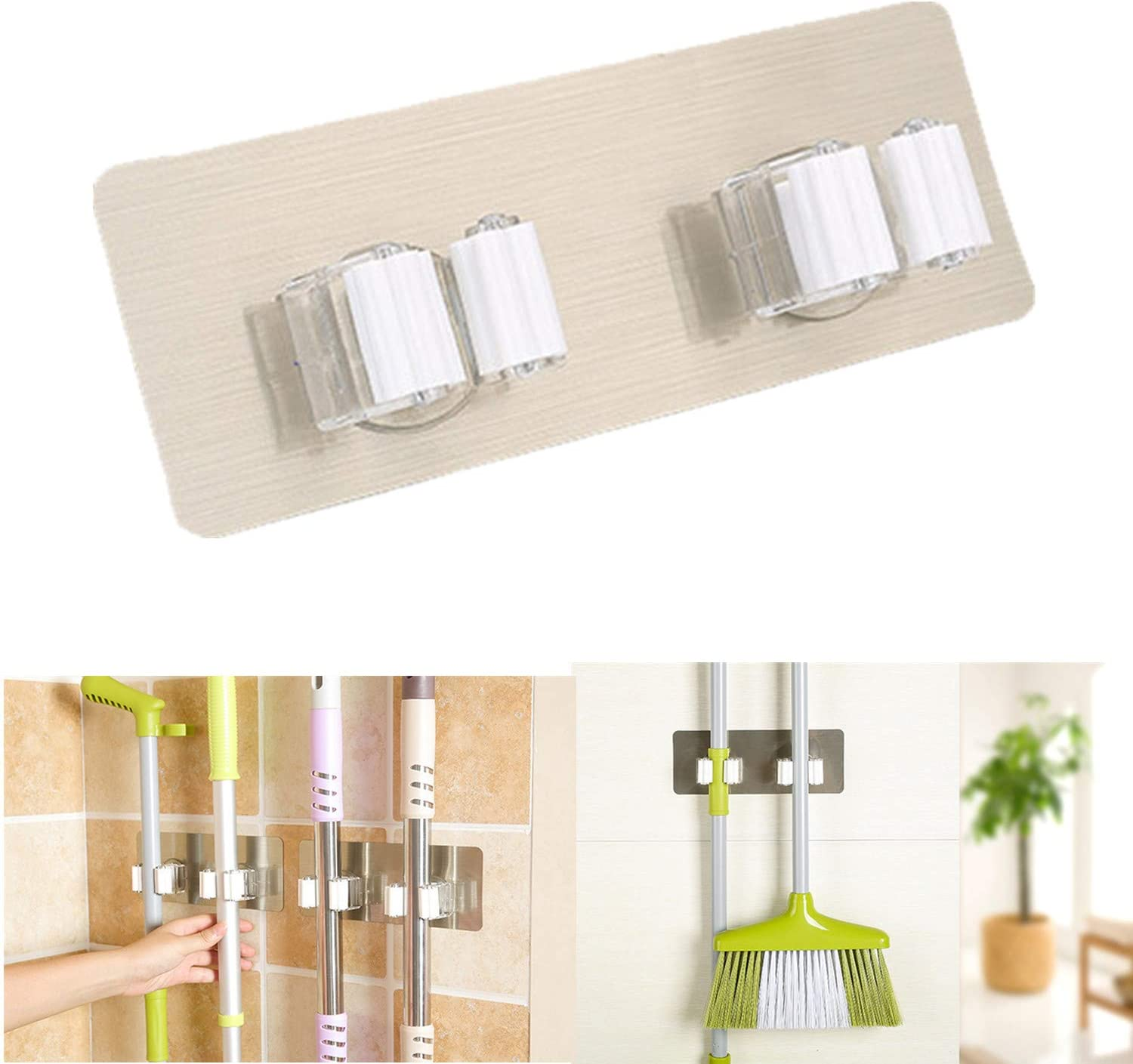 A ERIUAES 1PC Wall Mounted Mop Holder Double Buckle,Self Adhesive Wall Mounted Mop Organizer Storage Rack Clip