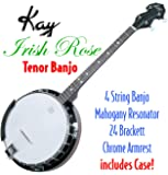 Kay KBJ40 W/C Tenor 4 String Irish Rose Banjo with Hardshell Wood Case