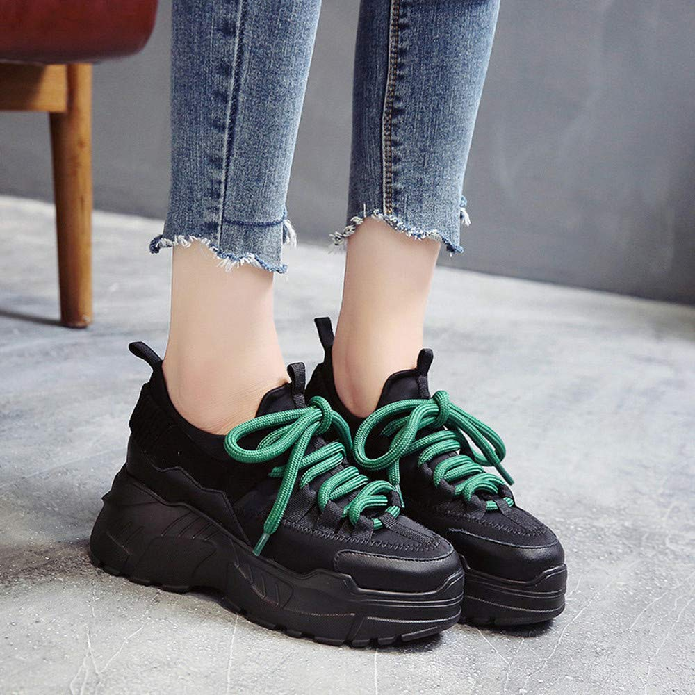 Lurryly Women Fashion Casual Platform Sport Increase High Shoes Round Head Lace-UP Flat Snekers
